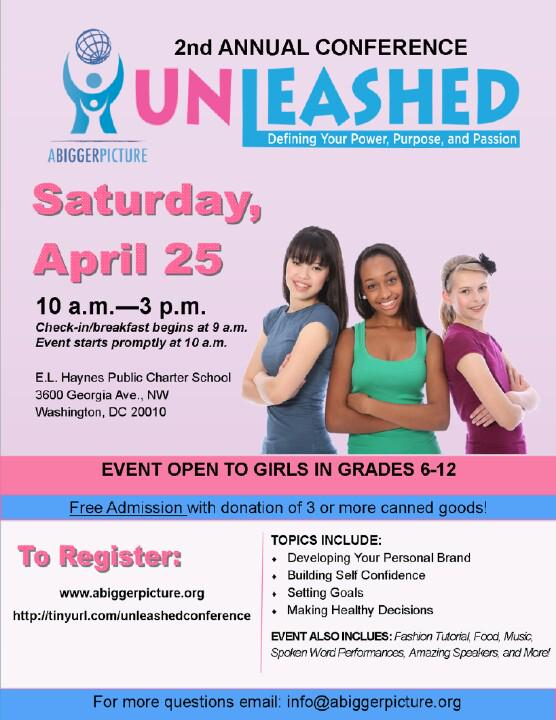 For girls grades 6-12, a day designed to empower each attendee to discover their power, purpose and passion. http://t.co/n9ccgLdszK