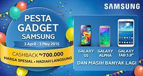 Skrg gabung, skrg untung! Hrg spesial, cashback 700rb, hadiah lgsg di Pesta Gadget Samsung! http://t.co/pf4gJX7Act http://t.co/0ihknMaIue