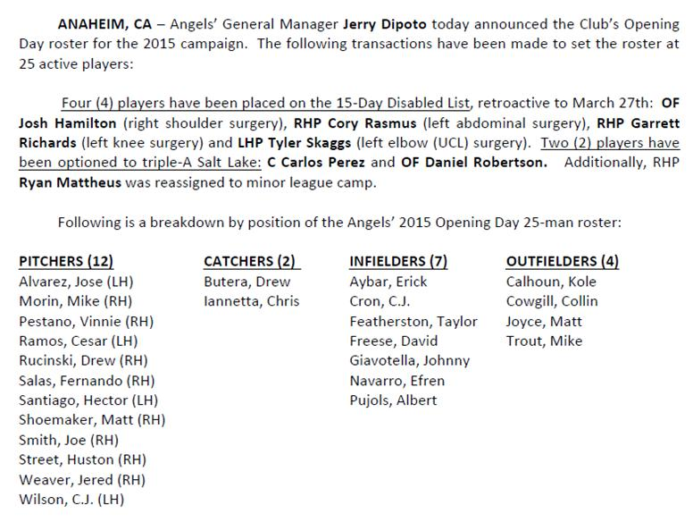 RT @Angels: #Angels announce Opening Day 25-man Roster: http://t.co/jjiWcb5HGG