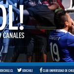 13 ¡GOOOOOOLLLL AZUUULL!!!!! Gustavo Canales abre el marcador en el estadio Santa Laura #BAR 0-1 #UCH #VamosLaU http://t.co/qcRD2p06h8