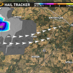 """Up to 2"""" hail with the Bastrop County storm. Take cover now if you live in Togo, Smithville, Kovar & Kirtley. #atxwx http://t.co/wkWY16350l"""