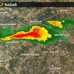 Strong thunderstorm over central Bastrop Co. Capable of producing quarter size hail #atxwx http://t.co/oHSOFkrZCK