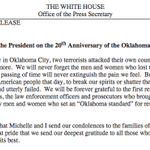 """""""We will never forget the men and women who lost their lives."""" —Obama on the anniversary of the Oklahoma City bombing http://t.co/iUdOHTUHOd"""