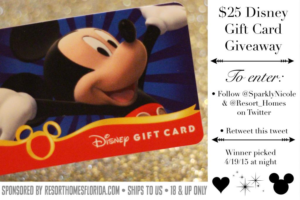 GIVEAWAY: Retweet this & follow @SparklyNicole & @Resort_Homes to enter to win a $25 Disney gift card! Ends tonight. http://t.co/7jBrAybeVa