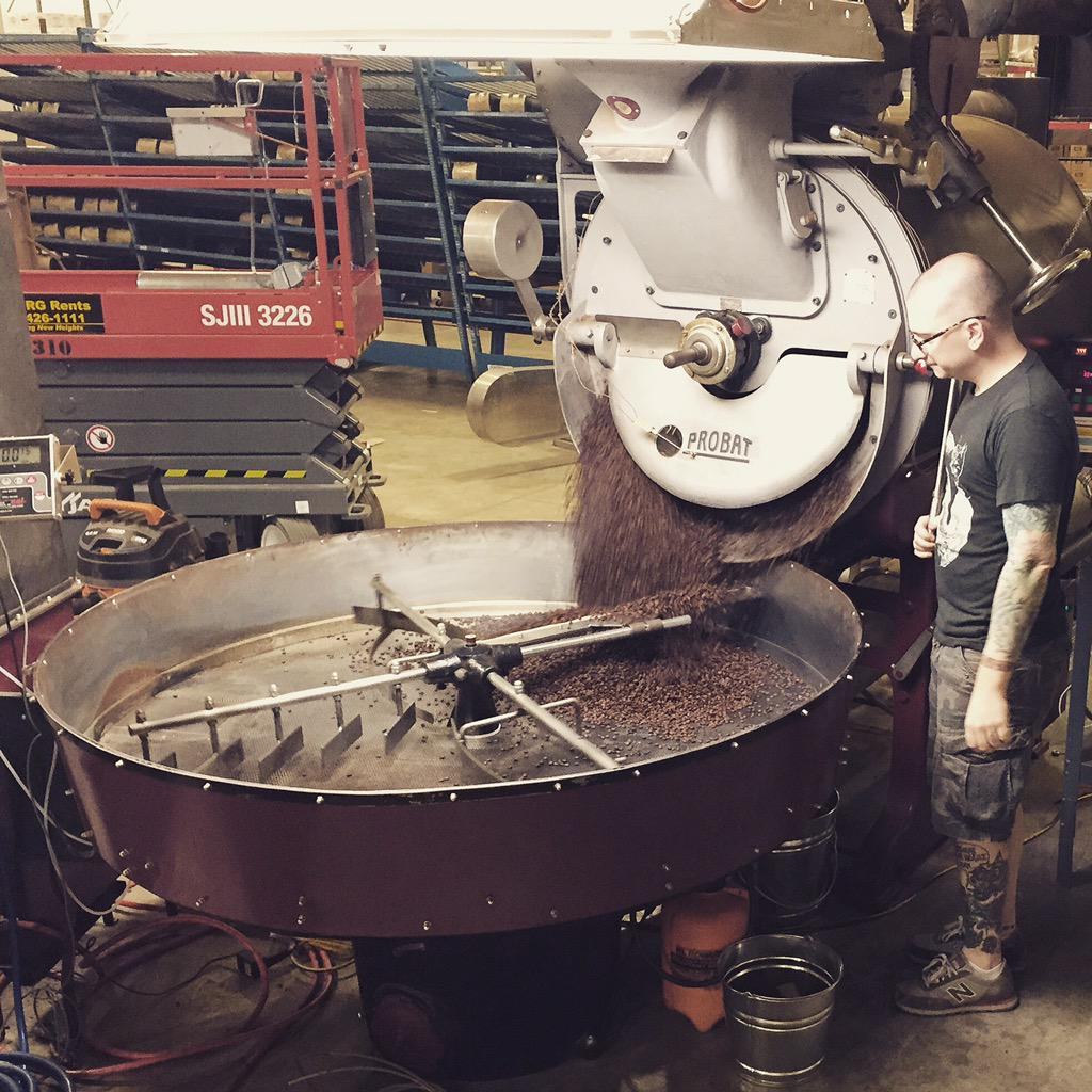 1st roast at new roastery! #followthegoat http://t.co/hce2Qh62jV