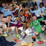 WEMBLEY REACTION: Thrilled Villa players celebrate the win in the dressing room. #AVFC #FightLikeLions http://t.co/nVw8j9qMtD