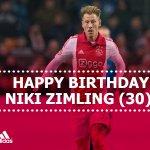 Happy birthday Niki Zimling! De #Ajax-middenvelder is vandaag 30 jaar geworden.
