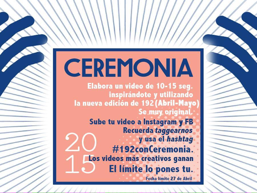 Tenemos 6 boletos sencillos para el  @CeremoniaXXX! Checa las bases para concursar #192conCeremonia  #QuieroCeremonia http://t.co/iL4r5Vr4si