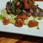 Tonights Special: Peppercorn seared tuna with sweet corn risotto and charred tomatoes salsa #nochebrookhaven #atl http://t.co/KbTKlz3pOZ