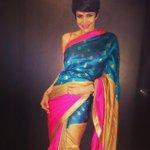 One of my new #BenaresLumiere sarees! A fun Turq and Fuchsia! @mandiradesigns http://t.co/xytsO4RAqB