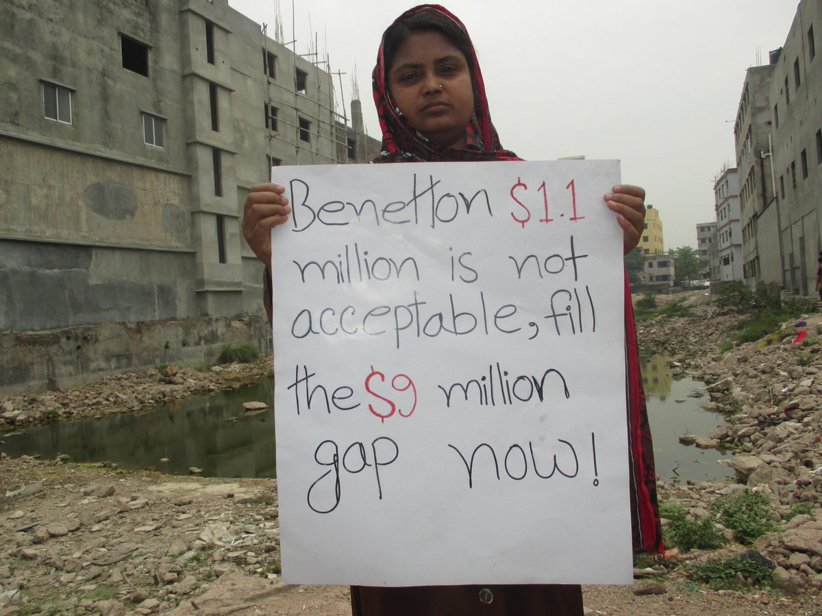 Today at #RanaPlaza site, survivor decries Benetton's low level of support @cleanclothes @usas #BenettonPayUp5Million http://t.co/j7F0fLTtsT