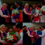 PM Narendra Modi arrives in New Delhi after his 3 nation tour, receives a warm welcome from BJP leaders http://t.co/5Y4UMsI7KV