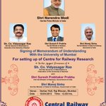 Signing of MoU between @RailMinIndia and Mumbai University for setting up Centre for Railway Research @sureshpprabhu http://t.co/6IjIiMUYbz