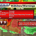 Storm chasers are reporting a tornado on the ground 4 miles east of Alice near Highway44.  Please stay safe everyone. http://t.co/apiqOHsYeA