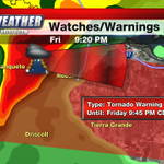 Tornado Warning until 9:45PM for central Nueces. Storm moving E@20. Robstown & Calallen areas take cover & stay safe. http://t.co/mneAcdHA5L