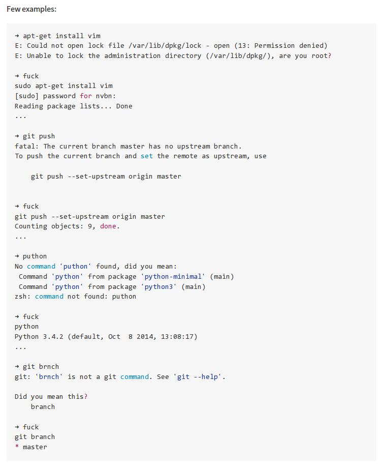 新添加了thefuck到[community]仓库。这个小工具能改正常见的命令行错误,并帮你改正再跑一次。比如$ apt-get install meow返回没有权限,之后$ fuck就会自动帮你加上sudo再跑一次。附图为更多示例~ http://t.co/4lHROUhfWu