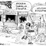 SA gives birth to a new African country and Zapiro nails it as usual... #XenophobicSA http://t.co/AxmW05hSc6