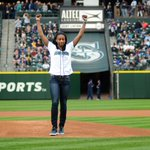 @seattlestorm new player @jloyd32 throws up her arms after throwing the first pitch of the @Mariners game tonight http://t.co/m9q5bBs6tZ