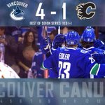 #Canucks extinguish the Flames 4-1 to even the best-of-seven series at 1-1. #FLAMEPROOF http://t.co/R6tl1micMx