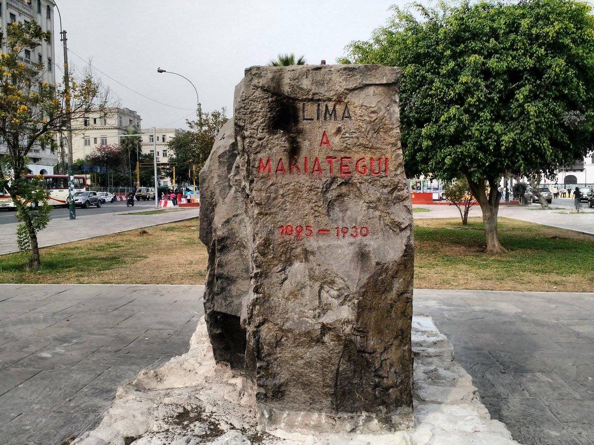 El monumento a MARIATEGUI queda fuera del perímetro de obras del bypass de Castañeda, sin embargo ha sido destruido. http://t.co/UfAjocwguv