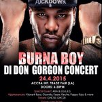 Buy Tickets to @burnaboy #DiDonGorgonConcert @ Puma Shop (Accra & Osu Mall) @AbeikuLytle @wanlov @Wiredu_ http://t.co/utLMmEte2X