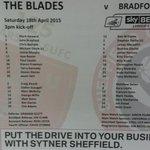 Sheffield United v Bradford City team sheet. #sufc #twitterblades http://t.co/AXuzyg6muz