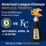 The first 10k fans at #TheK tonight will receive this AL Champs replica trophy! http://t.co/2c7ikRojh2 http://t.co/wbvBGxSEx2