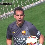 Pictures: Bravo save penalty, that was given after dive from Valencia player #fcblive [via @casadelfutbol] http://t.co/M6V9AG2Mk9