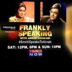 Coming up shortly:Catch the most talked about HRD Min Smriti Irani as she gets candid on #SmritiSpeaksToArnab at 8pm http://t.co/n2reaEfx8x