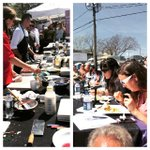 #tomtomfest Charlottesville farmers market iron chef competition- poached eggs are popular http://t.co/6du70OCTJM