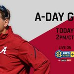 One hour away from the 2015 Golden Flake A-Day game. Watch live on @SECNetwork+ here http://t.co/P2g1WxgiyZ #ADay2015 http://t.co/ZHssWuezfL