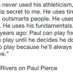 """Paul's never used his athleticism-that's been his secret. He uses timing. He uses angles."" Doc Rivers on Paul Pierce http://t.co/Wkp8EUUDq5"