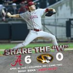The @AlabamaBSB team shuts out 14th-ranked Missouri, 6-0, in game one of todays doubleheader. Share the W! #RollTide http://t.co/ktsZmJuvV7