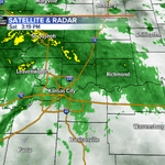 Latest look at radar as the last band of rain get set to leave the KC area. Drying out for #Royals baseball tonight. http://t.co/dVBBLH4VwB