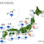 【全国の天気】(19日06:00) http://t.co/x7YRCRPFtj 前線が大陸から山陰沖に延びてくるでしょう。この前線に向かって暖かく湿った空気が入り、大気の状態が非常.. http://t.co/WTtKMZEJ13