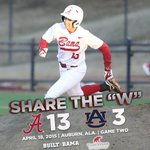 Share the W! Alabama clinches the weekend series over Auburn with a dominating 13-3 win in game two! http://t.co/kHR87CqO5x