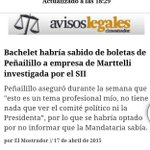 Bachelet habría sabido de las boletas de Peñailillo a empresa Martelli investigada por caso #SII... sería todo. http://t.co/buC7VmvcwR