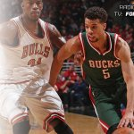 The Bulls take a lead into the halftime break. Tune in to @fswisconsin and @620wtmj for the 2nd half. #BuckPlayoffs http://t.co/O78JVgpYza