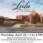 Want to work at the Ryman? Were having a job fair for Cafe Lula on Thursday! http://t.co/Bvae3GD4ur