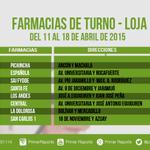 Aquí las farmacias de turno en #Loja: http://t.co/G7Yuv72mYD