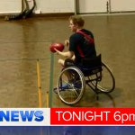Prince Harry has been flying choppers & playing wheelchair footy during his Aust Tour of Duty.Video #9News Sunday 6pm http://t.co/nOIlfAZYCs