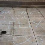 Epic sidewalk chalk art at Safeco tonight! #TrueStory #AllHailFelix #KingFelix http://t.co/7a1IIwE4Pt
