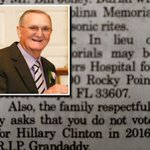 ???? RT @WLBT: GRANDADDYS DYING WISH: Do not vote for Hillary Clinton http://t.co/WrIiw5u9my http://t.co/BKv8o2NKPE