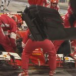 LAP 38/57: Vettels car suffered damage running wide and hes back in the pits #BahrainGP #F1atTwilight http://t.co/c9jmVUxb7B