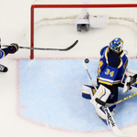 Outstanding shot by @pdchris of a key moment in Game 2 just before David Backes swept away the potential tying goal. http://t.co/YeGl86WB0a