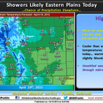 Best chance of precipitation on the eastern plains today, slight chance elsewhere. #cowx http://t.co/G40nsll9w8
