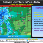 Best chance of precipitation on the eastern plains, slight chance elsewhere today. #cowx http://t.co/cmAGzw6dnK