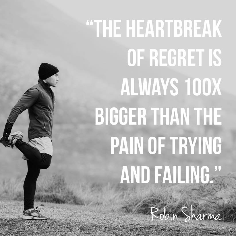 5 min read: The heartbreak of regret is always 100x bigger than the pain of trying and failing. http://t.co/0Oagzl0ALR
