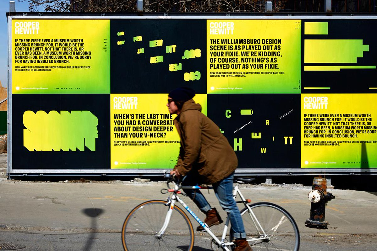 Our new work for @cooperhewitt is up around NYC.  Take your fixie (or don't, your call) to the UES for a visit. http://t.co/xSFZhrG8yS