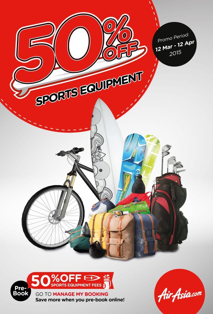 kami tawarkan diskon 50% untuk harga bagasi semua peralatan olahraga anda!  Info lanjut klik